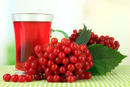 Red berries of viburnum and cup of tea on tablecloth on bright background