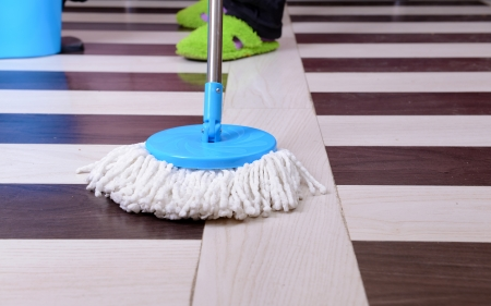 House cleaning with  mop Stock Photo - 24527968