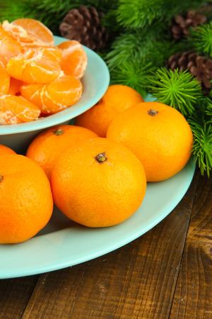 orange peel clove: Mandarini maturi in una ciotola con il ramo di abete vicino