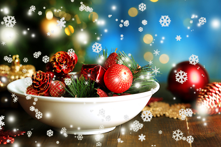 Place setting for Christmas, on bright background photo