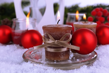 christmas scent: Christmas candles close up Stock Photo