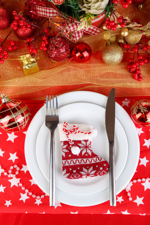 Serving Christmas table close-up Stock Photo - 24846833