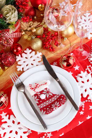 Serving Christmas table close-up Stock Photo - 24846832