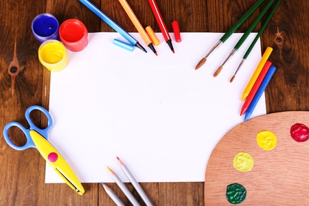 Composition of various creative tools on table close-up photo