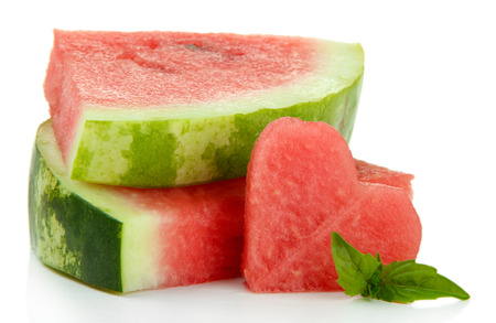 Fresh ripe watermelon isolated on white photo
