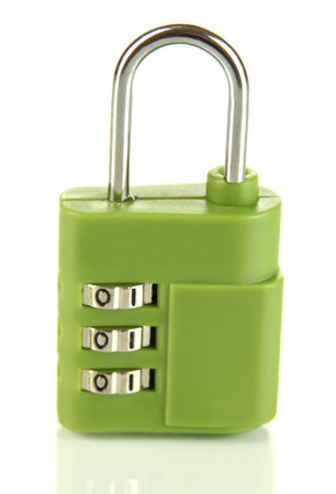 breaking the code: Green padlock isolated on white