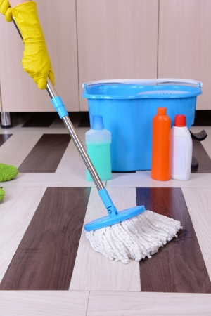House cleaning with  mop Stock Photo - 24950926