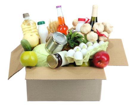 roomy: Box with products isolated on white Stock Photo