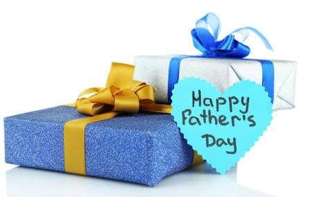 Happy Fathers Day tag with gift boxes, isolated on white Stock Photo