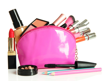 Beautiful make up bag with cosmetics , isolated on white photo