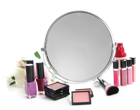 cosmetologist: Group decorative cosmetics for makeup and mirror, isolated on white