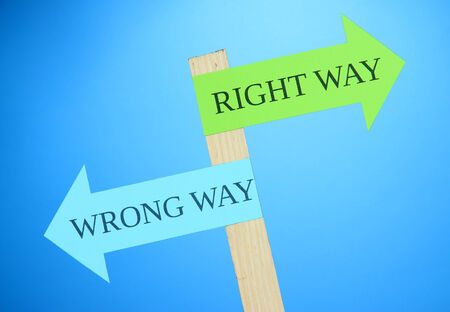 making decision: Conceptual  road signs on choice and decisions