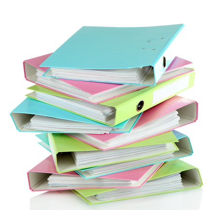 Colorful folders, isolated on white photo