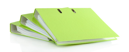 Green folders, isolated on white photo