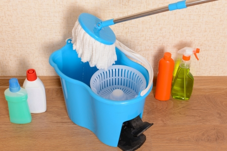 House cleaning equipment with  mop photo