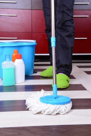 House cleaning with  mop photo