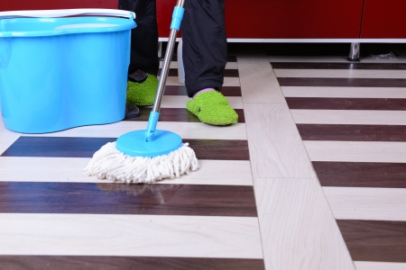 House cleaning with  mop Stock Photo - 25049004