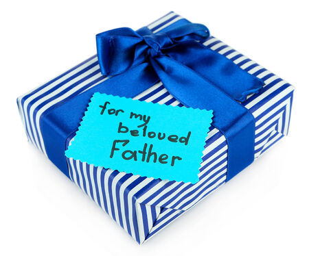 Happy Fathers Day tag with gift box, isolated on white Stock Photo - 25049292