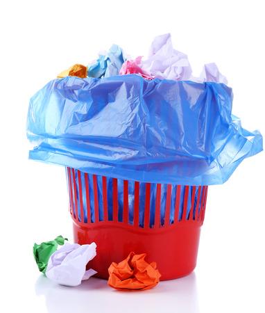 Garbage bin, isolated on white photo