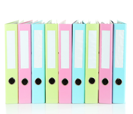 Colorful folders, isolated on white photo
