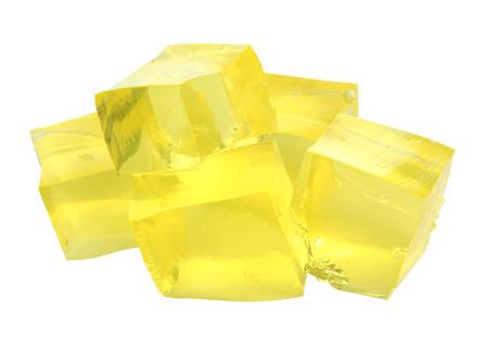 pectin: Tasty jelly cubes isolated on white