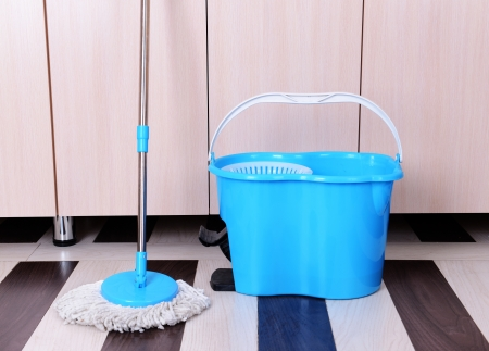 House cleaning with  mop Stock Photo