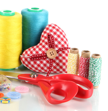 bead embroidery: Handicraft supplies isolated on white