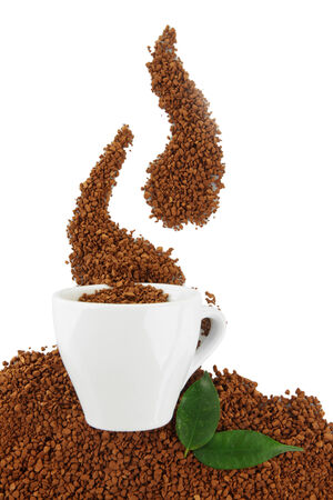 overturn: Cup with instant coffee isolated on white