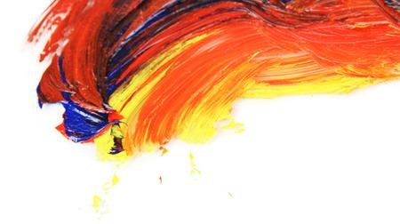 oily: Oily paint brushstrokes isolated on white