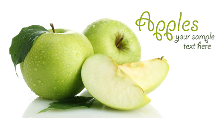 Ripe green apples with leaf and slice, isolated on white photo