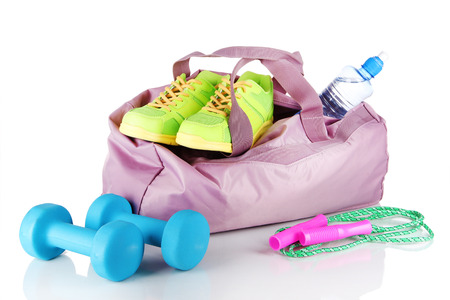water shoes: Sports bag with sports equipment isolated on white
