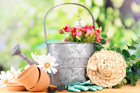 Gardening tools and flowers on wooden table, outdoors Stock Photo - 25586670