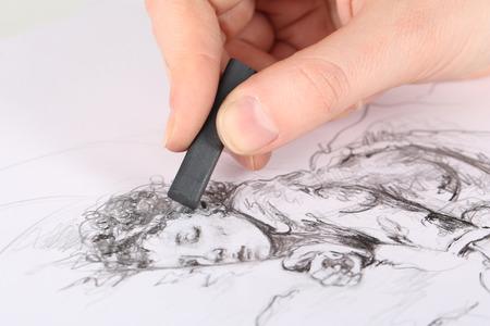 Dibujo dibujo de carbón de leña de dibujo aislado en blanco Foto de archivo