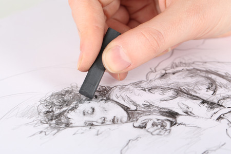 artist: Drawing picture of drawing charcoal isolated on white