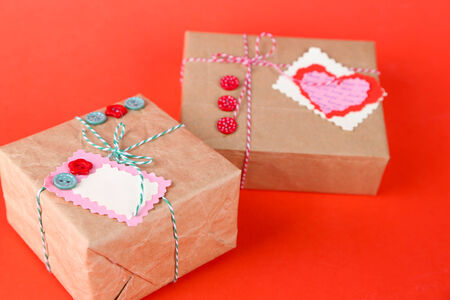 Paper gift boxes on  color  photo