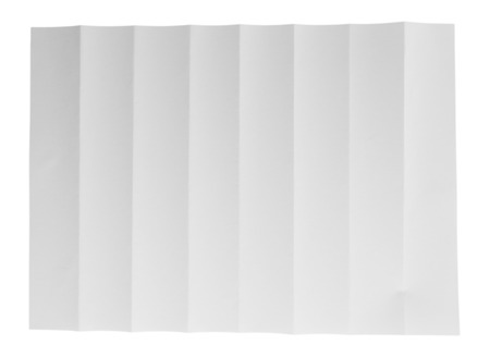 printed material: Folded white sheet of paper close up