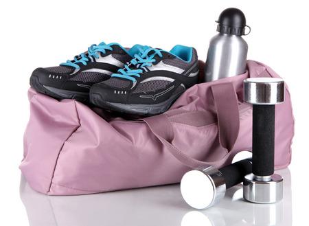 흰색에 고립 된 스포츠 장비 스포츠 가방 스톡 콘텐츠