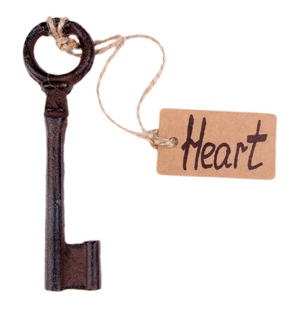 Keys to heart, Conceptual photo. Isolated on white photo