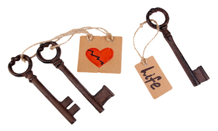 Keys to love, Conceptual photo Isolated on white photo