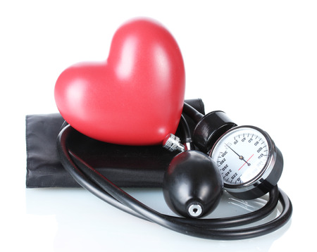 high blood pressure: Black tonometer and heart isolated on white Stock Photo