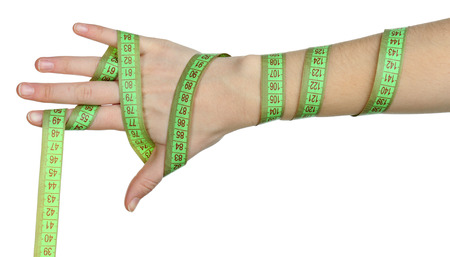 Woman hand with measuring tape isolated on white photo