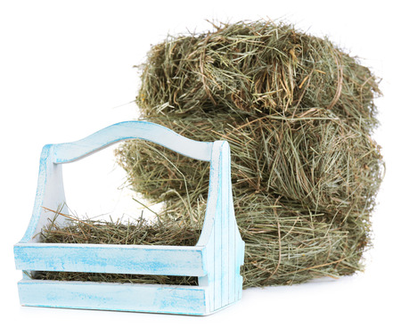 Hay in wooden basket, isolated on white photo
