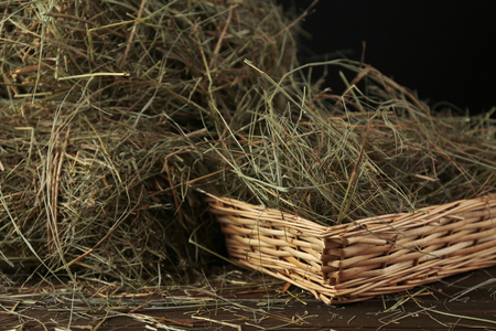 Hay in wicker basket, on dark background photo