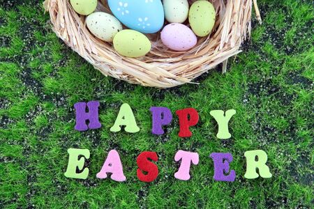 Easter eggs in nest on green grass background photo