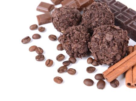 cafe bombon: Conjunto de dulces de chocolate close-up