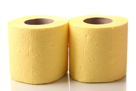 Color toilet paper rolls isolated on white Stock Photo - 27033554