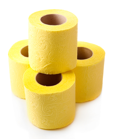 Color toilet paper rolls isolated on white Stock Photo - 27154064