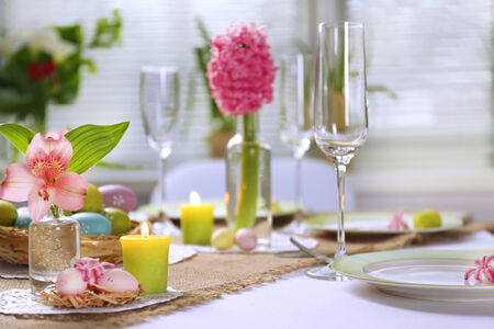 Beautiful holiday Easter table setting  photo
