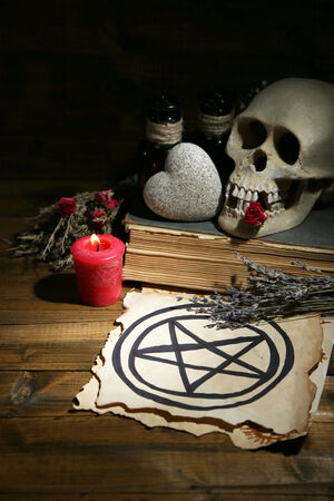 Conceptual photo of love magic. Composition with skull, dried herbs and candle on  dark wooden background photo