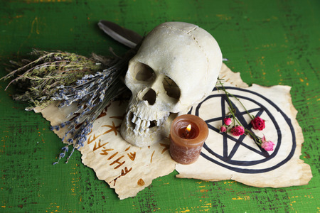 Composition with skull, old magic symbols, candle and dry herbs  on color wooden background